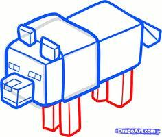 how to draw a minecraft wolf step 5 minecraft wolf minecraft party minecraft characters