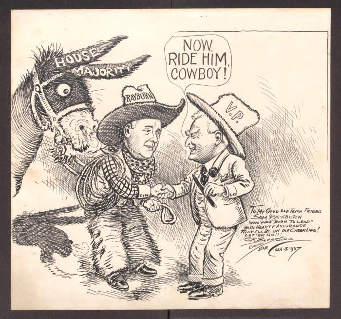 Drawing A Political Cartoon Political Cartoon by Clifford Berryman Depicting Sam Rayburn and
