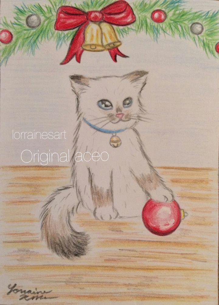aceo tw dec original cat christmas kitten drawing ragdoll cat