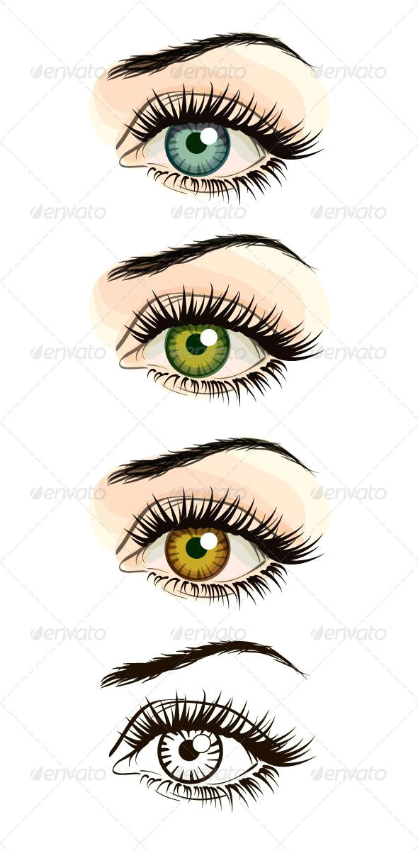 set of woman eye vectors in three color schemes and transparent sketch vector files are fully editable packadge includes ai file