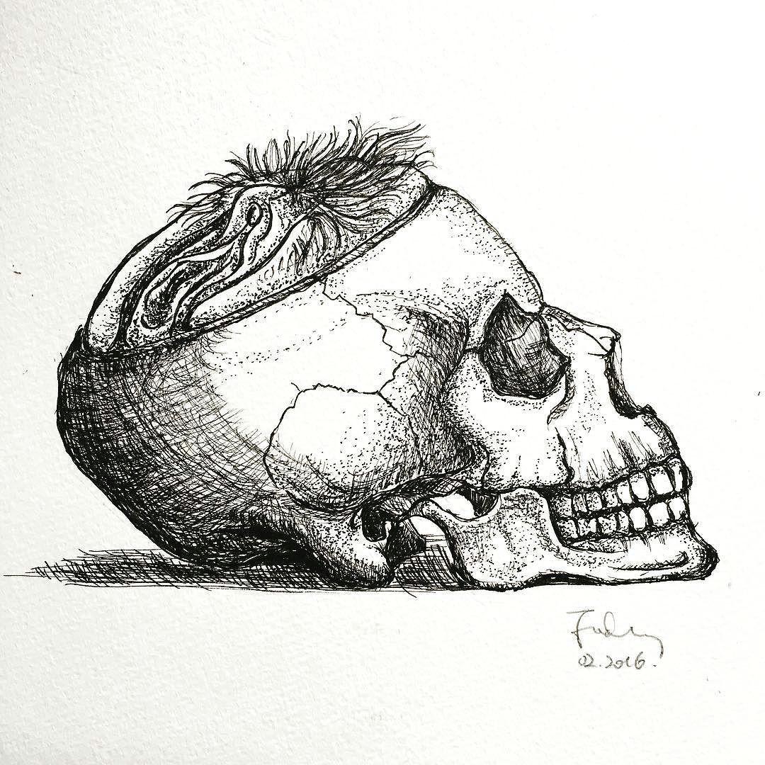 illustrator illustration idea talentedpeopleinc pen bw bnw blacknwhite draw sketch skull skulltattoo pussy proartists pigment by foxwong