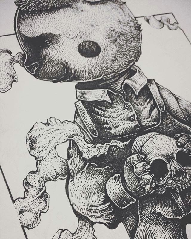 illustrator art ilustrasi illustration twistedfairytale goldilock aryawirawan puppetpit drawingpen brush inking classicfairytale bear skull
