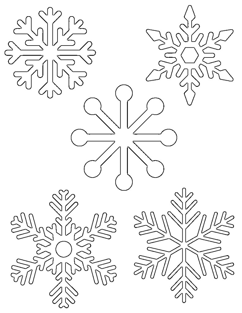 5 small snowflakes on one page to print out for kids activities tracing coloring pages etc