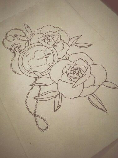 roses fob watch by laura w tattoo tattoodesign ink neotrad neotraditional newschool fobwatch watch clock flower rose sketch drawing art