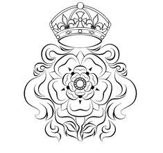 tudor rose design i wanna embroider it on something but im not too big