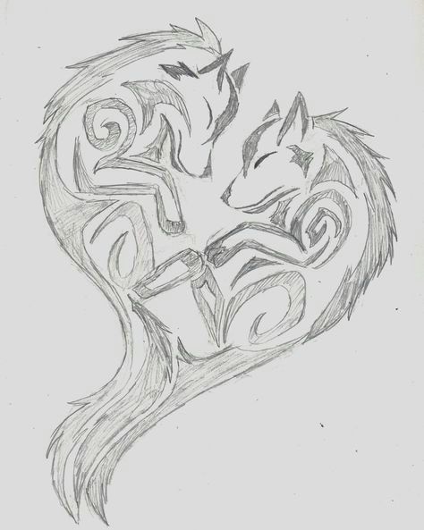 Drawing A Wolf Cute Wolf Heart Wolf Tribal Heart by Wolfhappy On Deviantart Tatoo