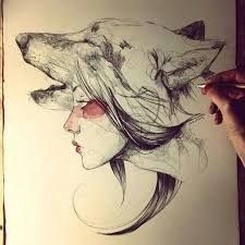 wolf girl drawing google search