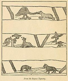three of aesop s fables on 11th century bayeux tapestry with the wolf and the lamb at bottom