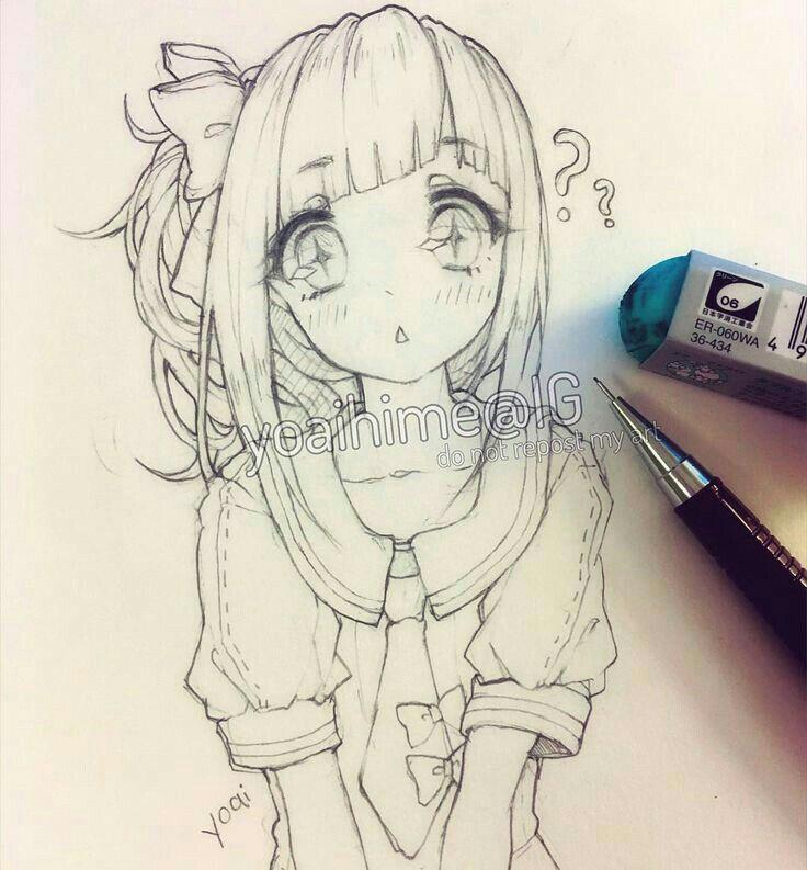 Drawing An Anime Character Kawaiiiii Anime Girl Drawing Sketch In 2019 Pinterest Drawings