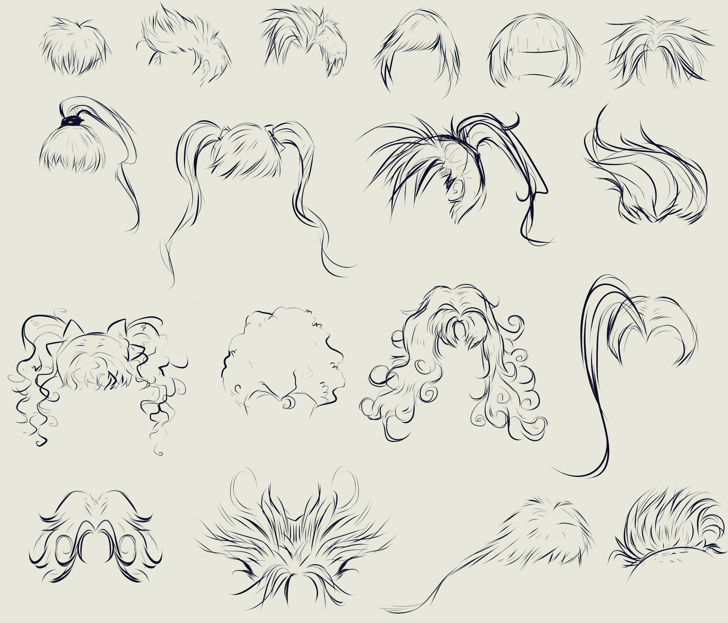 this anime hair reference sheet by ryky is all you need to get those flowy locks
