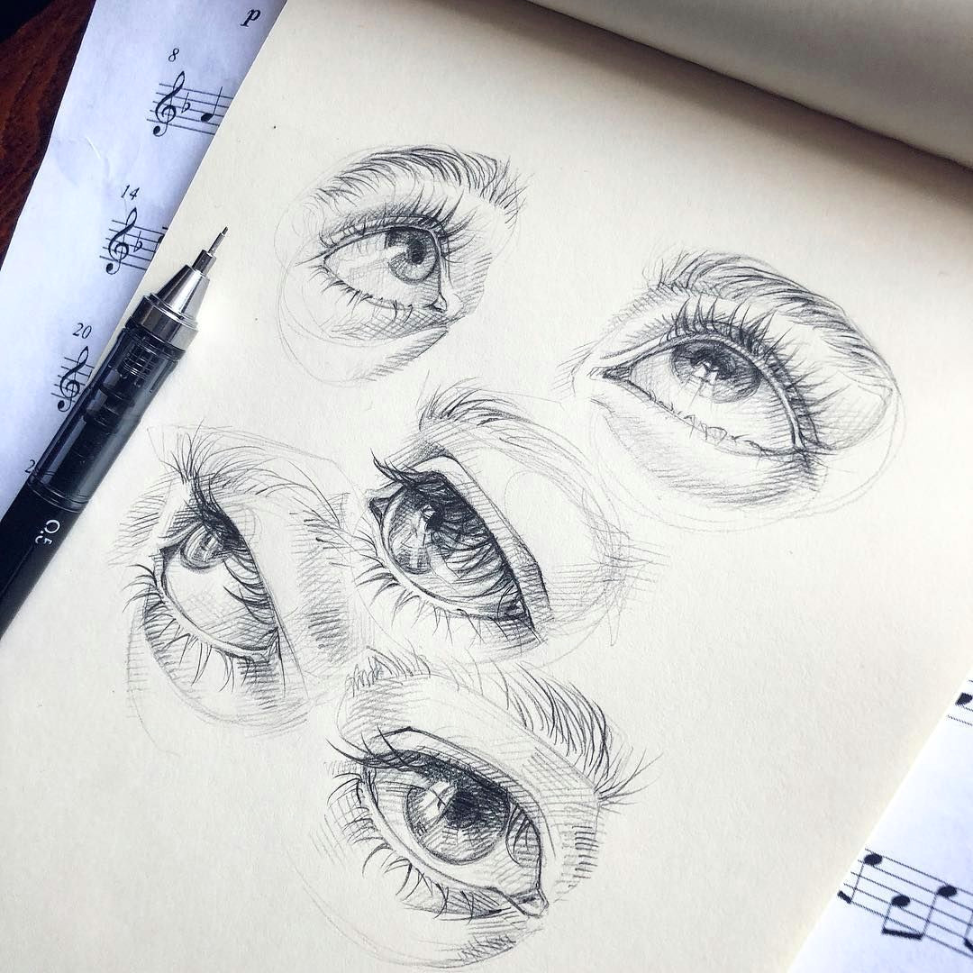 Drawing An Eye In Pen Lera Kiryakova Sketch Eyes Art Figurative Realistic Eye