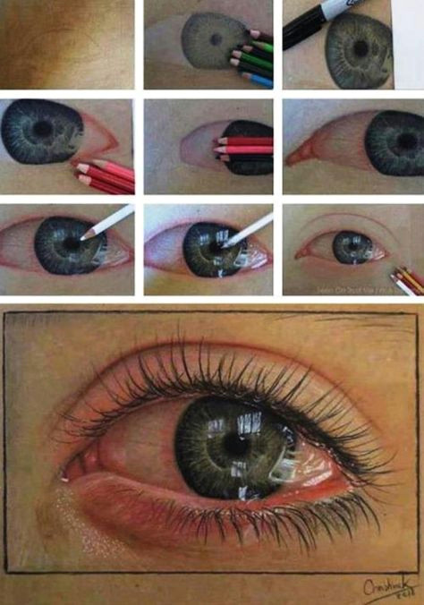 how to color pencil a life like eye ball