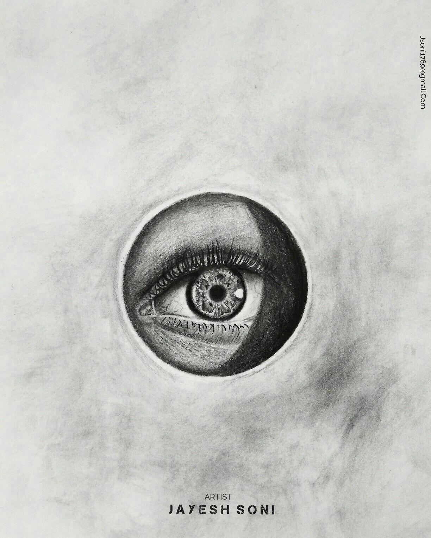 title realistic eye medium charcoal size a4 art by jayesh soni hope