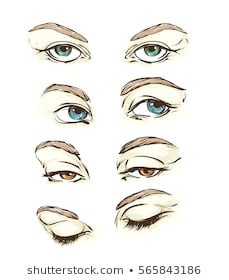 hand drawn women s eyes vintage fashion illustration