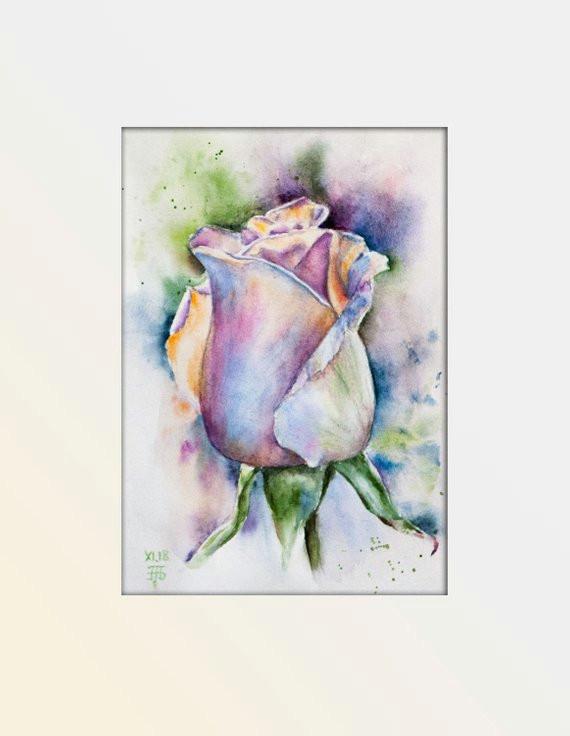 flowers original watercolor painting purple rose