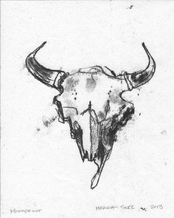 Drawing Animal Skulls Buffalo Skull Monotype original Art On Paper 8 X by Mariahscee