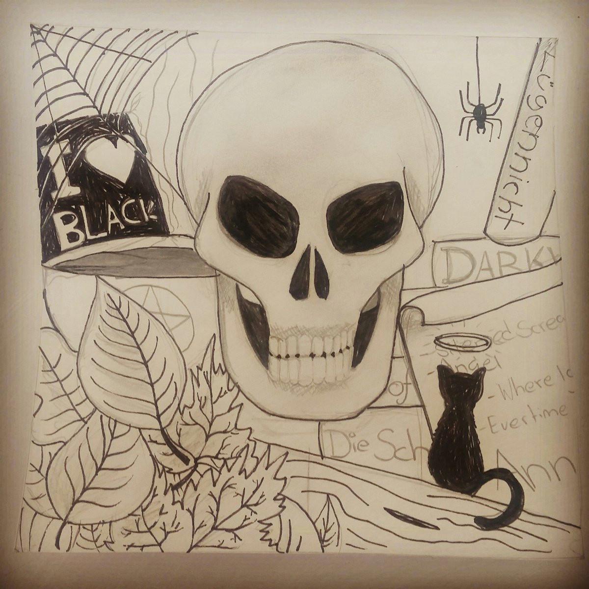 dieserrandomstuff on twitter draw art kunst malen drawing painting skull totenkopf bucher books