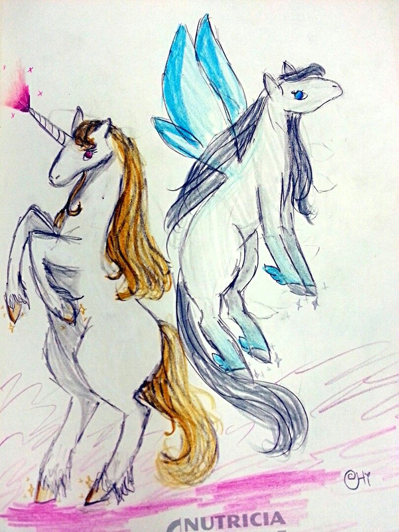 a drawing made by me of a unicorn and a pegasus this drawing is named hooves od gold ans silver this is my art nobody should claim as theirs
