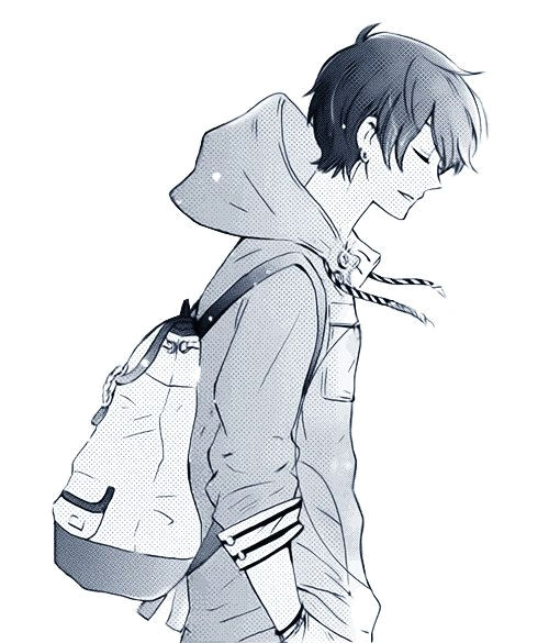 another black and white image of a male anime manga character this one shows a side profile of the boy s face the jacket hoodie is interesting