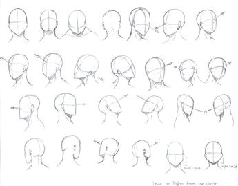 drawing manga heads from different angles google search