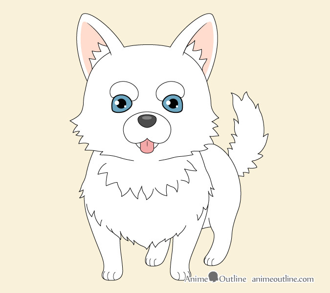 step 6 color the dog anime dog colored drawing