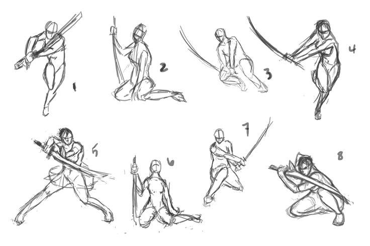 anime sword fighting poses