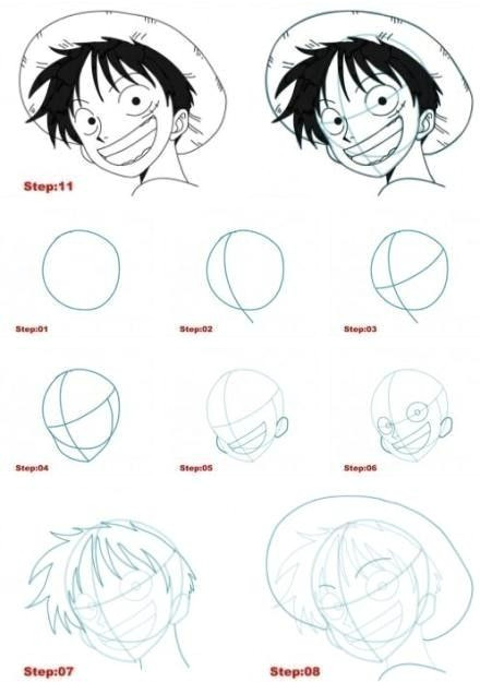Drawing Anime for Beginners Step by Step Step by Step Drawing Tutorial for Luffy From One Piece Drawing In