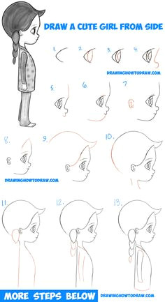 how to draw a cute chibi manga anime girl from the side view easy step by step drawing tutorial for kids beginners