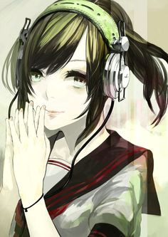anime girl with headphones anime chibi kawaii anime manga anime anime meme