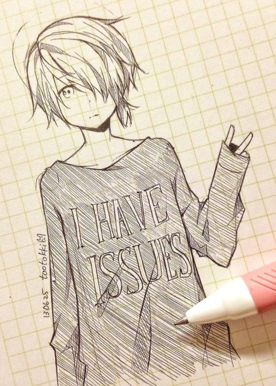 Drawing Anime Lovers Cute Anime Drawing tootokki I Have issues Sweater Anime Drawings