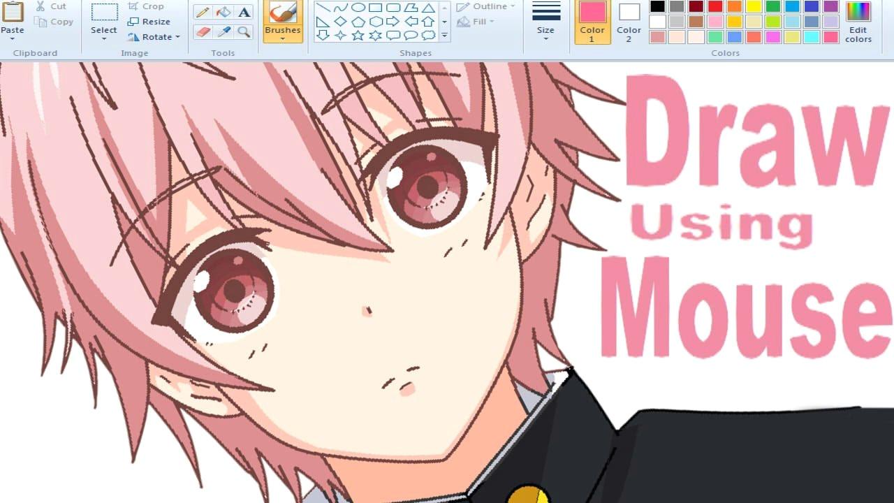 how i draw anime using mouse on ms paint i a a i