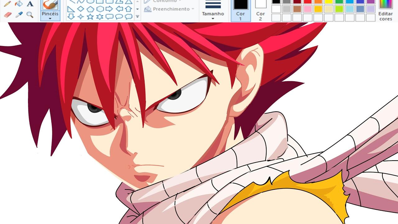 drawing anime on paint natsu dragneel fairy tail speedpaint