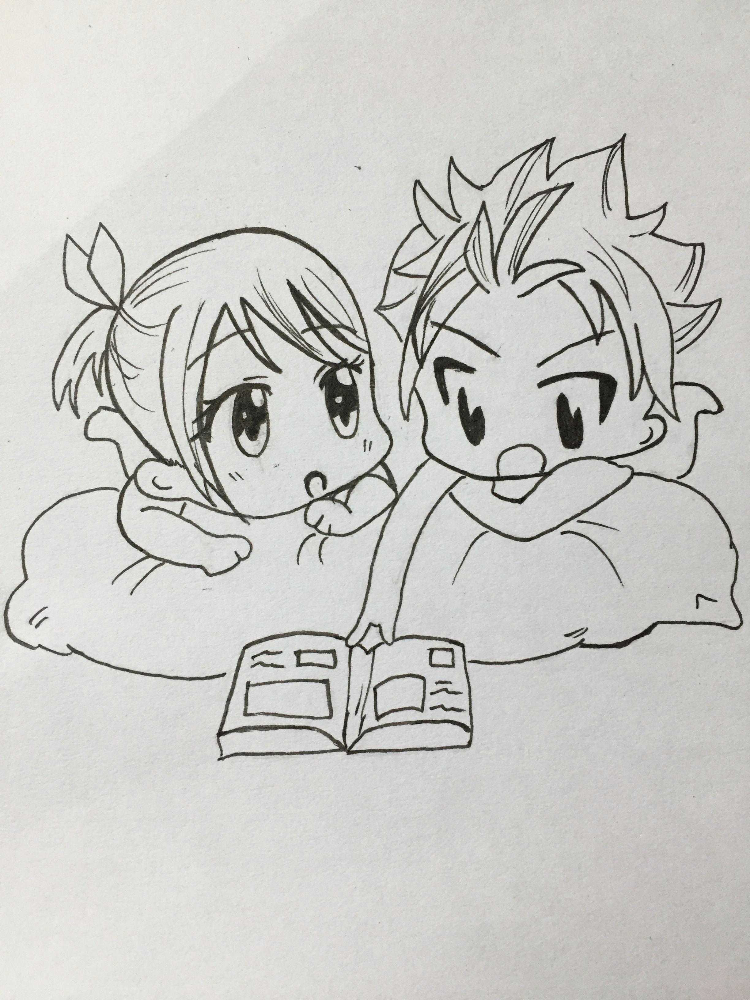 nalu chibi fairytail nalu chibi mangadrawing manga love art mystyle anime natsuxlucy natsuandlucy natsu lucy