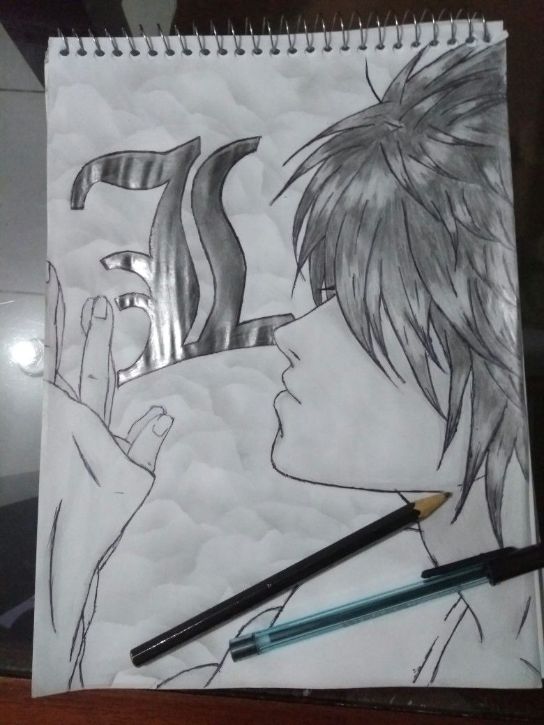 Drawing Anime Notes L S Fan Art Anime Death Note by Camilla Martins Fan Art Drawing