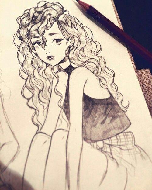 anime curly hair curly hair drawing cool girl drawings hair sketch woman