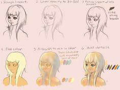 color tutorial blonde hair and skin tones manga drawingdrawing tipssketch paintingdigital
