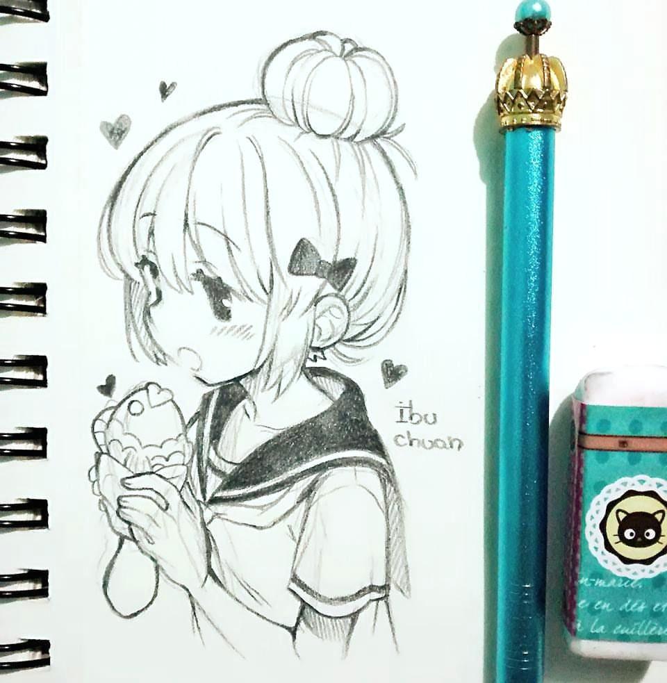 rico taiyaki anime k anime girls marker art kawaii art manga drawing