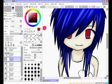 anime girl speed draw paint tool sai