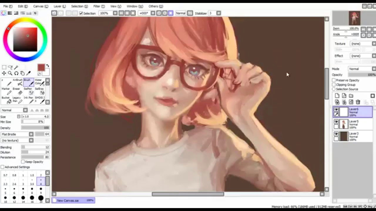 Drawing Anime Paint tool Sai Speedpaint Paint tool Sai Glasses Youtube