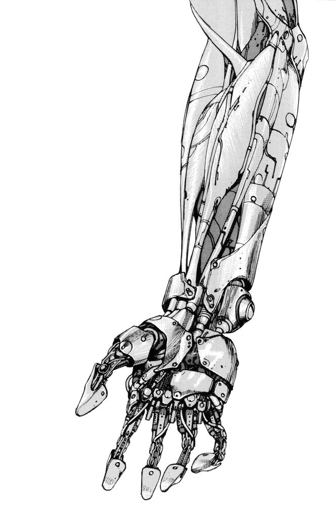 illustration of a mechanical arm from the sci fi manga classica akiraa by