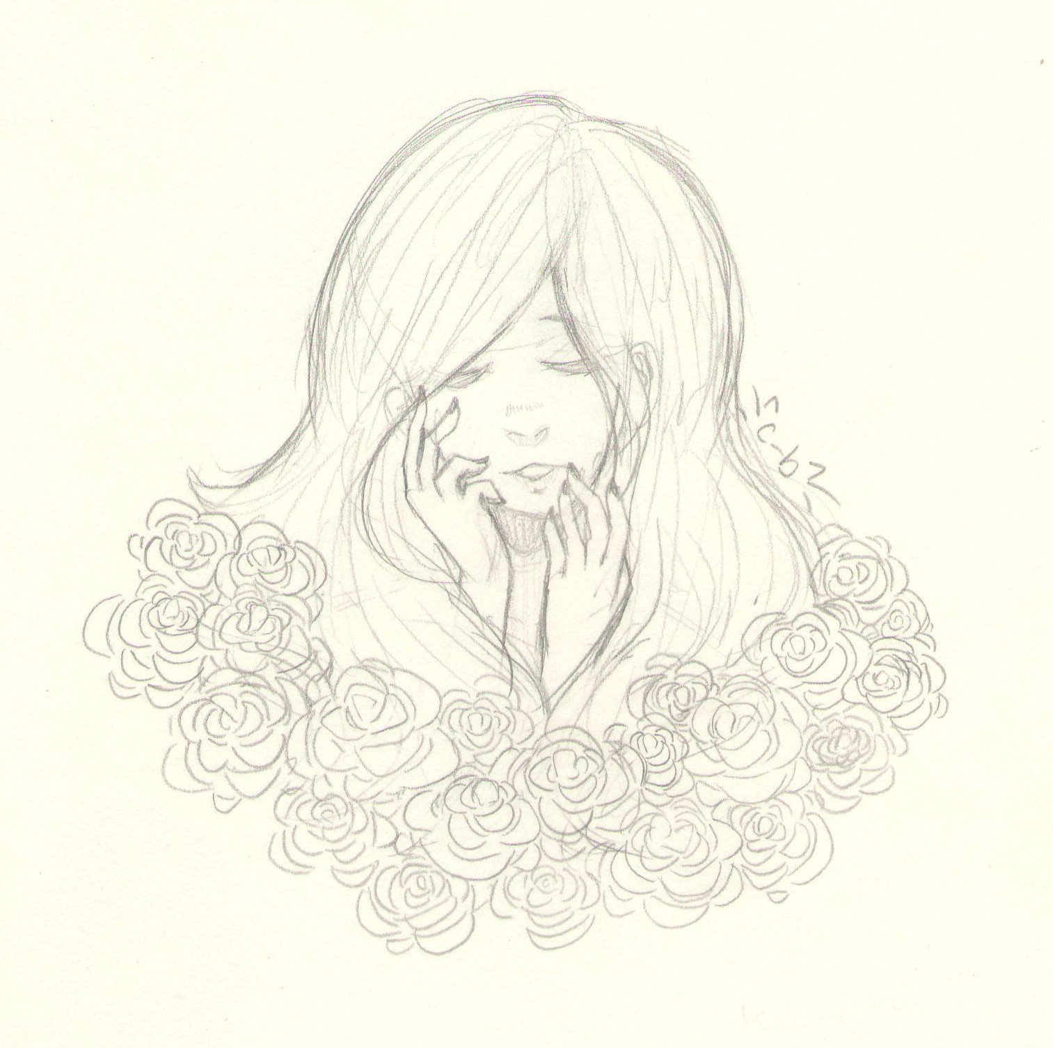 i found a nice way to draw roses roses flowers animegirls anime traditional art pencildrawing myart