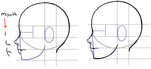 manga side face drawing