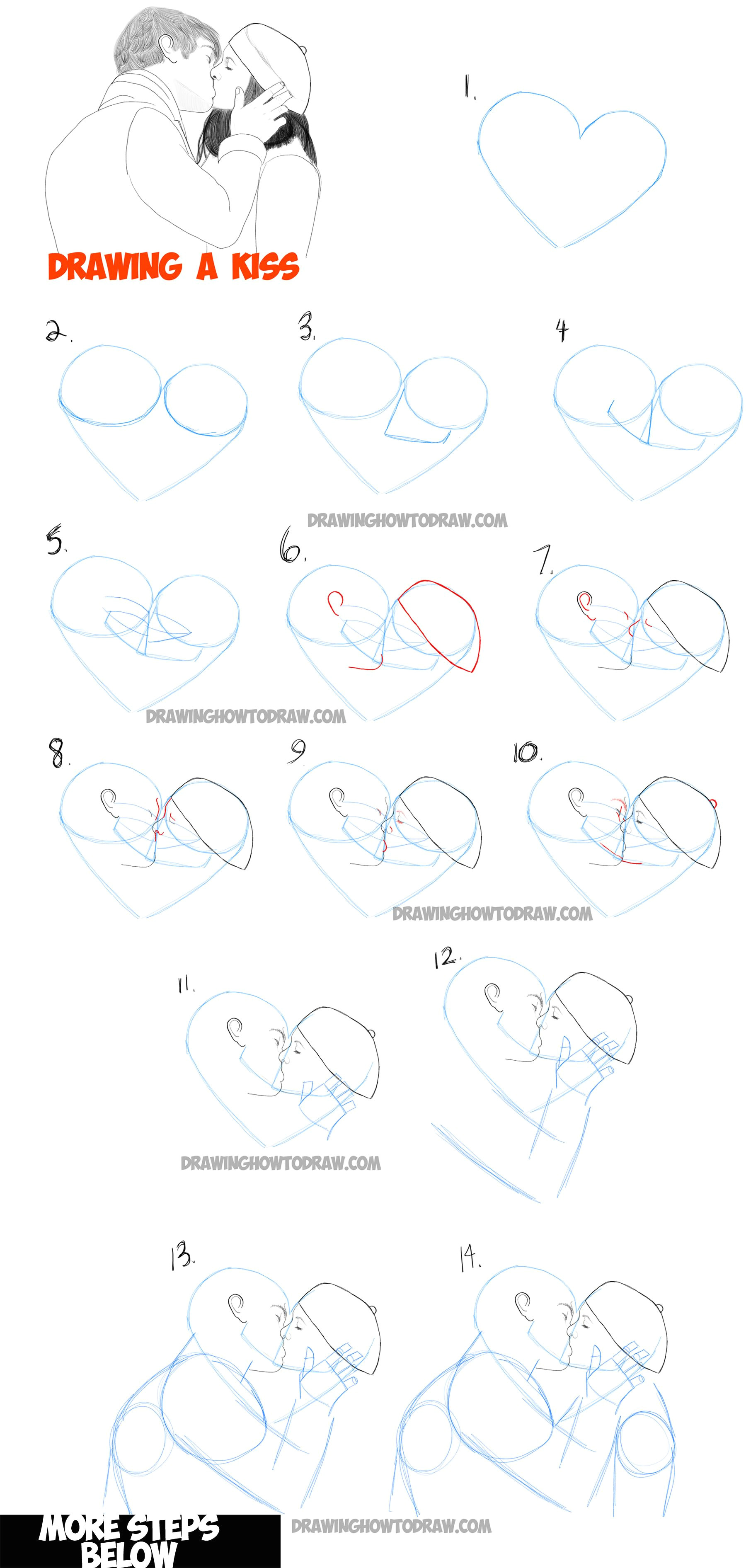 learn how to draw romantic kisses kissing couples step by step drawing tutorial