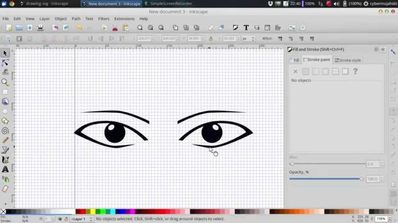 draw simple manga eyes in inkscape
