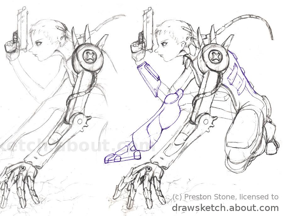 drawing a manga cyborg