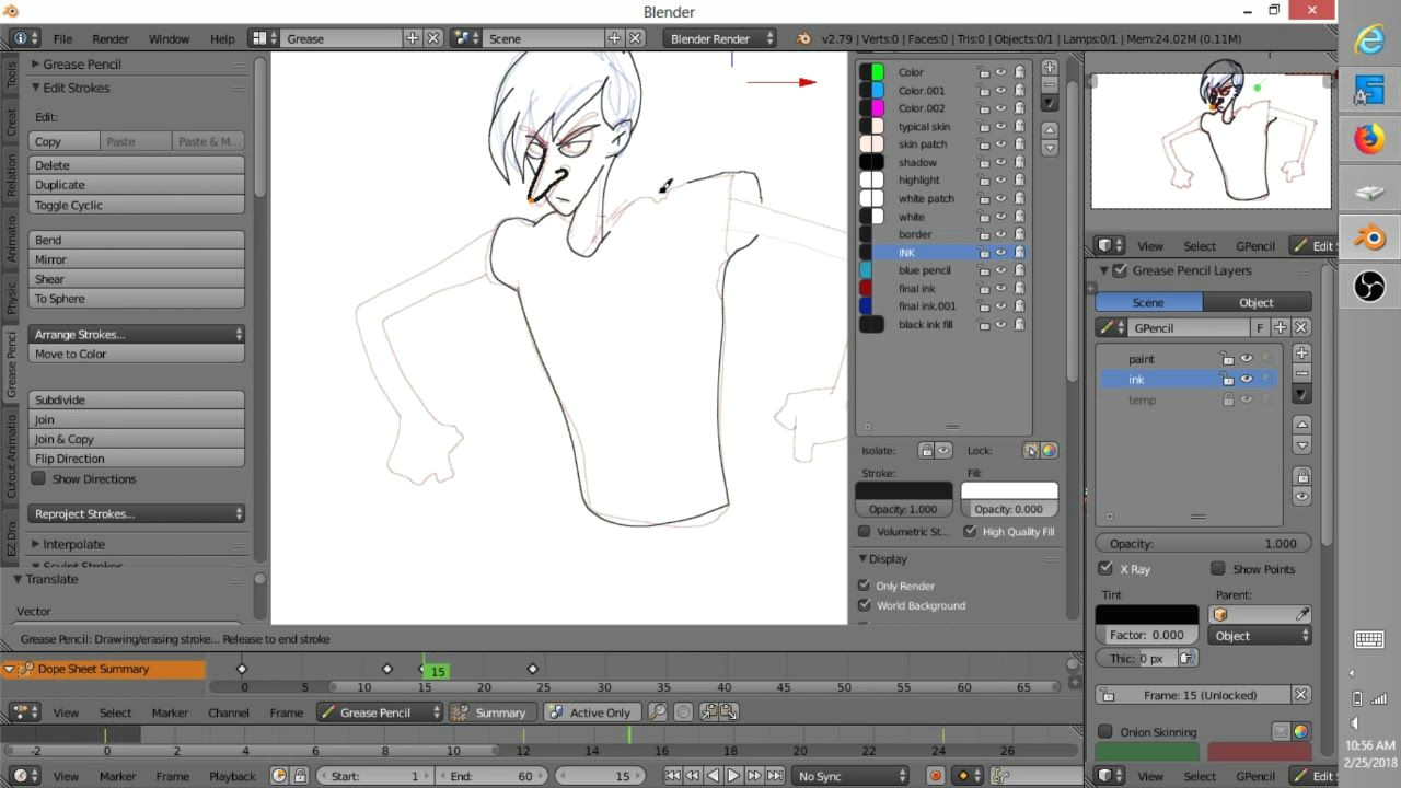 blender krita anime worflow with tablet screen