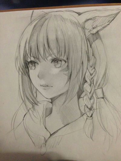 Drawing Anime with Pencil Redhead Neko Anime Drawings In 2019 Drawings Manga Drawing