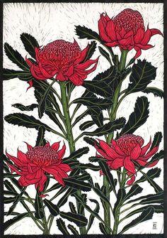australian flowers linocuts rachel newling