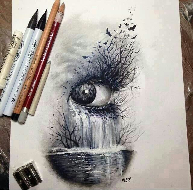 Drawing Bird Eyes Eye Waterfall Art Drawings Art Art Drawings
