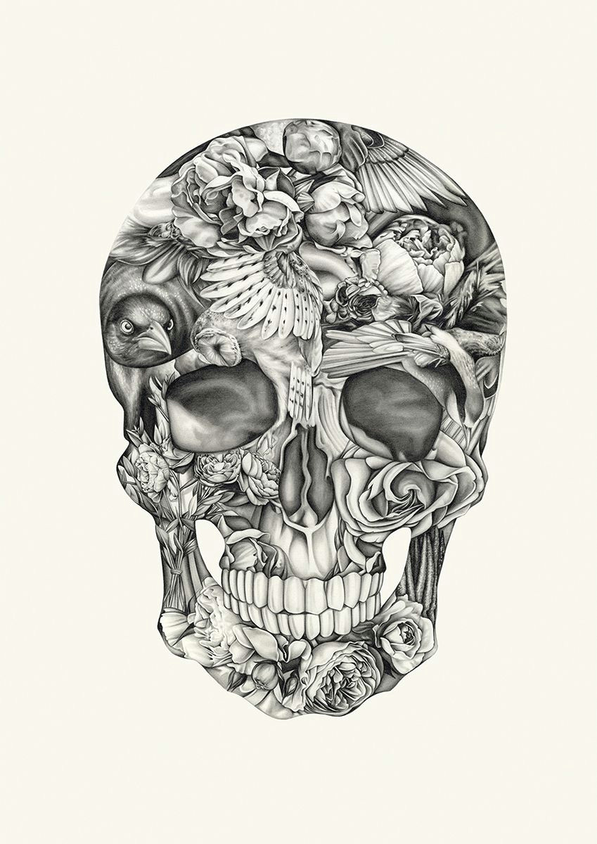 aviary and ivory by lauren mortimer at of cabbages and kings this skull print is made of birds and flowers
